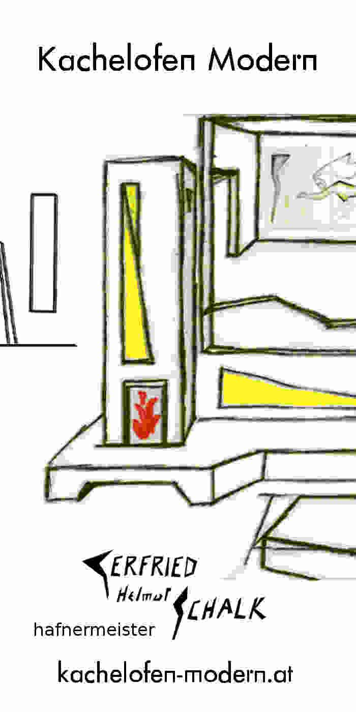 Kachelofen modern Design mit Bank
