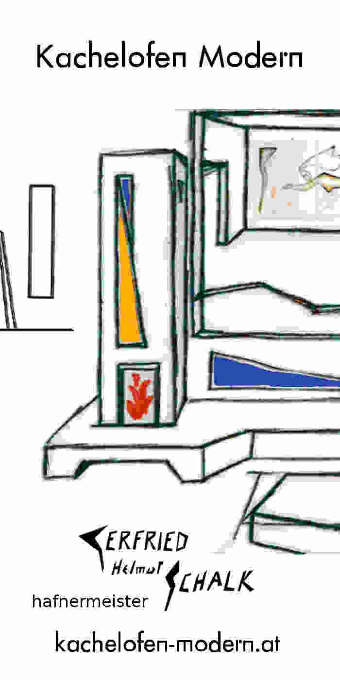 Kachelofen modern als Raumteiler mit Bank