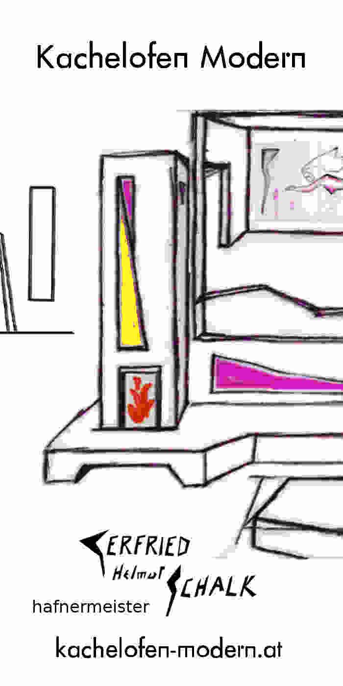 Kachelofen modern mit Sichtfenster und Bank